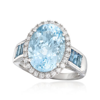 5.50 Carat Aquamarine, .90 ct. t.w. London Blue Topaz and .31 ct. t.w. Diamond Ring in 14kt White Gold, , default