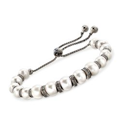 7-8.5mm Cultured Pearl and 1.00 ct. t.w. Black Spinel Bolo Bracelet in Sterling Silver, , default