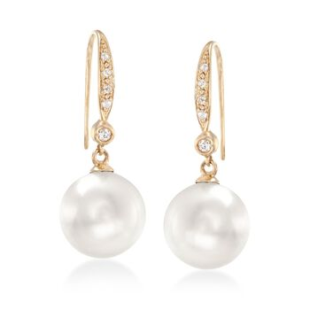 9-10mm Cultured Pearl and .10 ct. t.w. Diamond Drop Earrings in 14kt Yellow Gold, , default