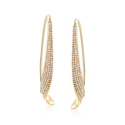 .34 ct. t.w. Diamond Twisted Earrings in 14kt Yellow Gold, , default