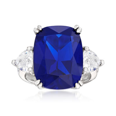12.25 Carat Cushion-Cut Simulated Sapphire and 1.75 ct. t.w. CZ Ring in Sterling Silver, , default
