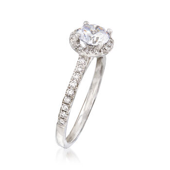 .29 ct. t.w. Diamond Halo Engagement Ring Setting in 14kt White Gold, , default