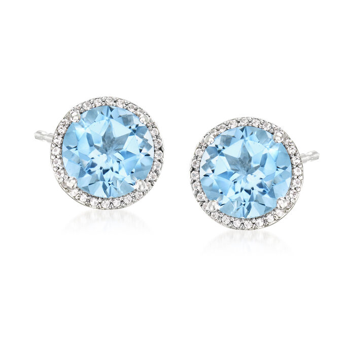 7.10 ct. t.w. Sky Blue Topaz and .20 ct. t.w. White Topaz Earrings in Sterling Silver