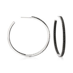 2.70 ct. t.w. Black Spinel Inside-Outside Hoop Earrings in Sterling Silver, , default