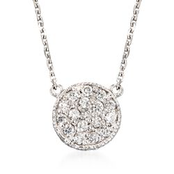 ".25 ct. t.w. Diamond Cluster Pendant Necklace in 14kt White Gold. 18"", , default"