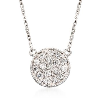 """.25 ct. t.w. Diamond Cluster Pendant Necklace in 14kt White Gold. 18"""", , default"""