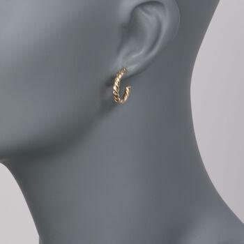 "Roberto Coin 18kt Yellow Gold Medium Twist Half-Hoop Earrings. 5/8"""
