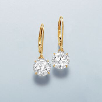 4.00 ct. t.w. CZ Drop Earrings in 14kt Yellow Gold. 7/8""