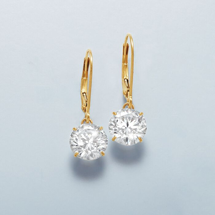 4.00 ct. t.w. CZ Drop Earrings in 14kt Yellow Gold
