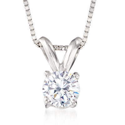 .33 Carat Diamond Solitaire Necklace in 14kt White Gold, , default