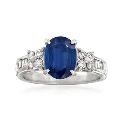 C. 1990 Vintage 1.72 Carat Sapphire and .33 ct. t.w. Diamonds in Platinum