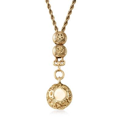 C. 1940 Vintage 14kt Yellow Gold Floral Barrel Necklace, , default