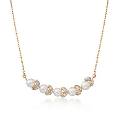 4mm Cultured Pearl Leaf Necklace with Diamond Accents in 14kt Yellow Gold, , default