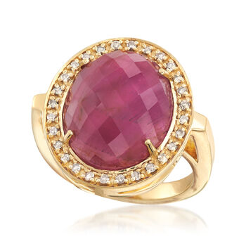 11.00 Carat Ruby and .24 ct. t.w. Champagne Diamond Ring in 18kt Gold Over Sterling