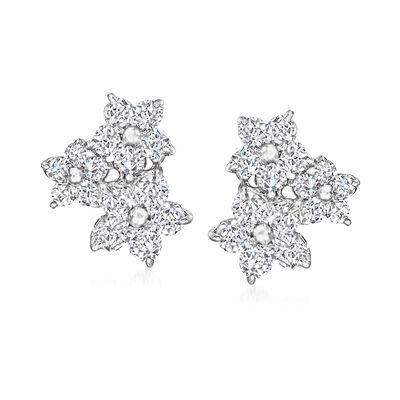 C. 1990 Vintage 1.00 ct. t.w. Diamond Flower Cluster Earrings in Platinum