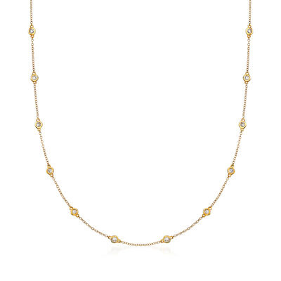 .50 ct. t.w. Bezel-Set Diamond Station Necklace in 14kt Yellow Gold, , default