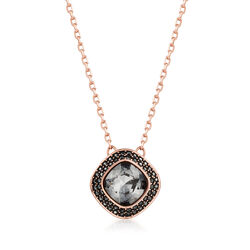 "Swarovski Crystal ""Latitude"" Clear Crystal Halo Necklace in Rose Gold-Plated Metal, , default"