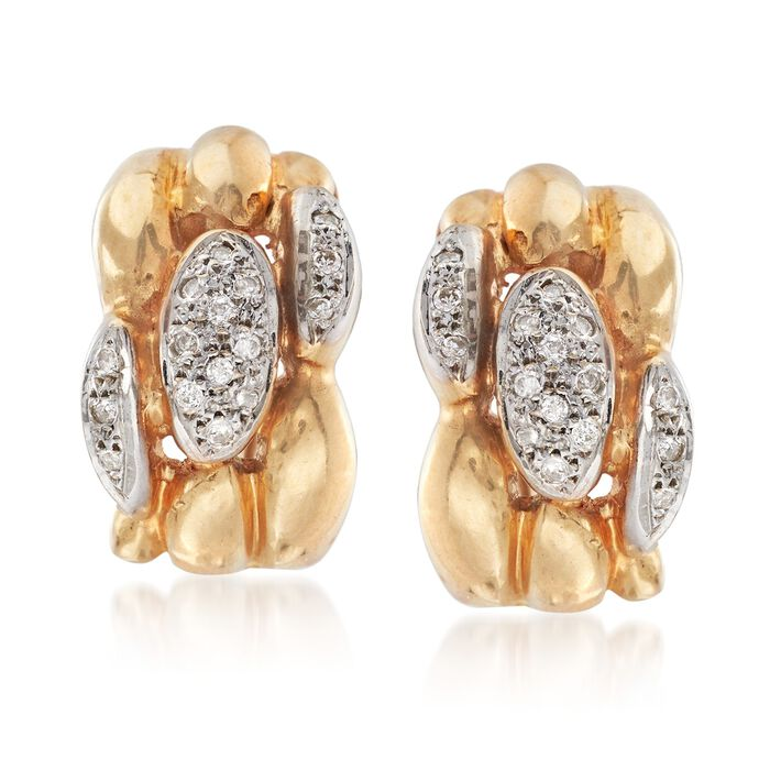 C. 1980 Vintage .40 ct. t.w. Pave Diamond Earrings in 14kt Yellow Gold, , default