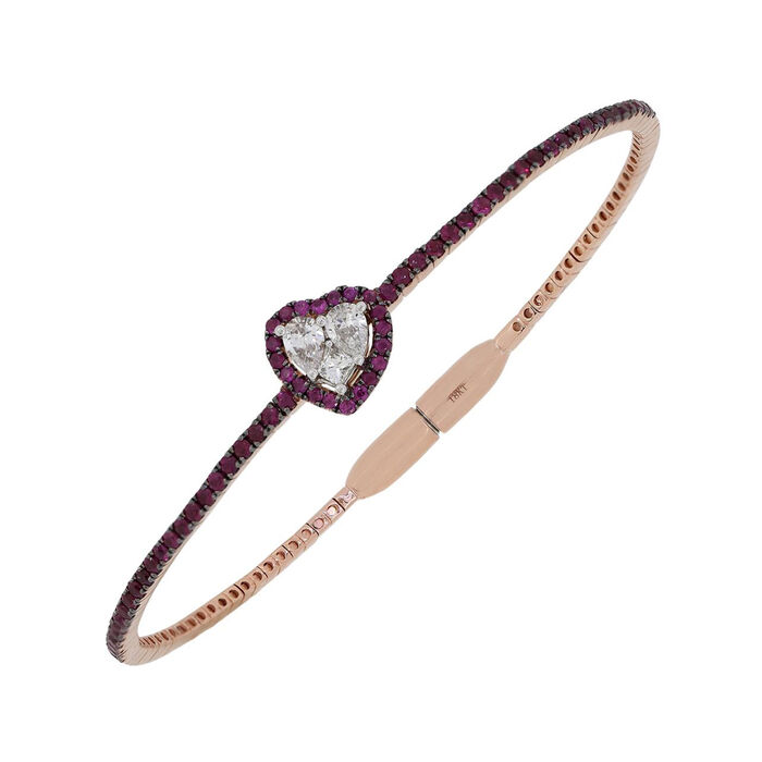 """1.00 ct. t.w. Ruby and .46 ct. t.w. Diamond Heart Bangle Bracelet in 18kt Rose Gold. 7"""""""