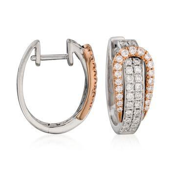 """Simon G. .80 ct. t.w. Diamond Buckle Hoop Earrings in 18kt Two-Tone Gold. 1/2"""", , default"""