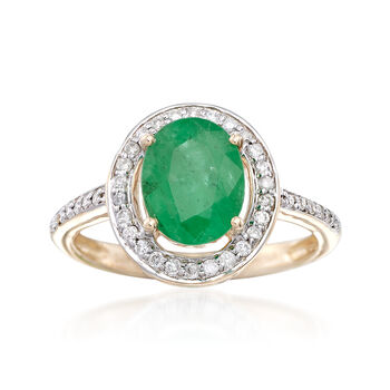 1.80 Carat Zambian Emerald and .25 ct. t.w. Diamond Halo Ring in 14kt Yellow Gold, , default