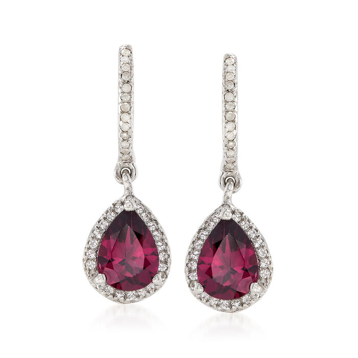 2.20 ct. t.w. Rhodolite Garnet Drop Earrings with White Topaz and Diamonds in Sterling Silver