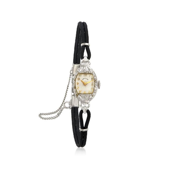 C. 1950 Vintage Elgin Women's .10 ct. t.w. Diamond Mechanical 13mm Watch in 14kt White Gold. Size 7.5, , default