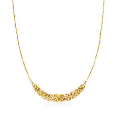 18kt Gold Over Sterling Byzantine-Link Center Necklace