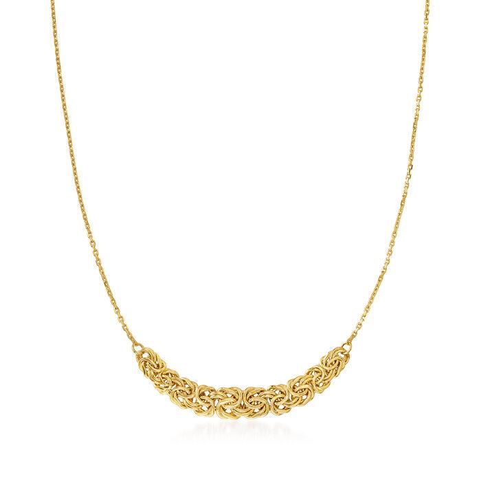 18kt Gold Over Sterling Byzantine-Link Center Necklace