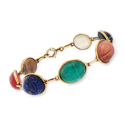 C. 1960 Vintage Multi-Gemstone Scarab Bracelet in 14kt Yellow Gold, , default