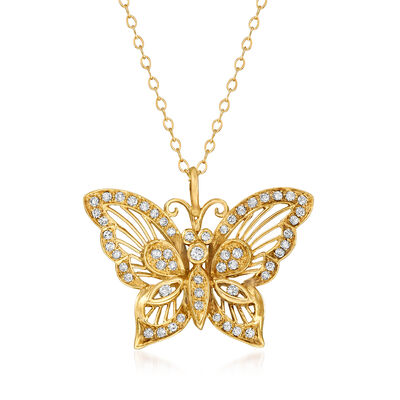 C. 1990 Vintage .45 ct. t.w. Diamond Butterfly Pendant Necklace in 14kt Yellow Gold, , default