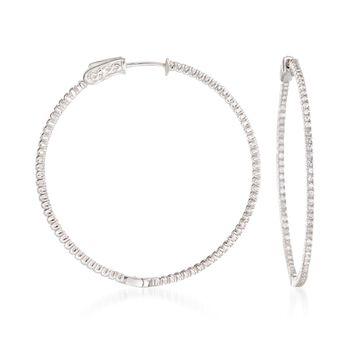 """1.50 ct. t.w. CZ Hoop Earrings in Sterling Silver. 1 3/4"""", , default"""