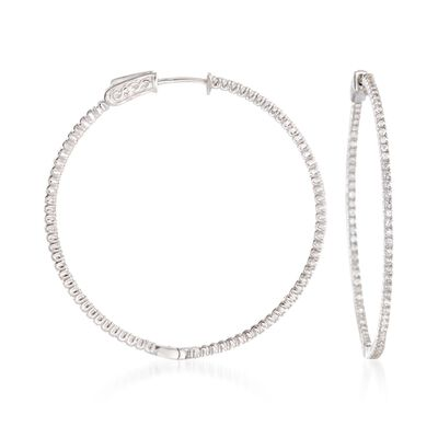 1.50 ct. t.w. CZ Hoop Earrings in Sterling Silver, , default