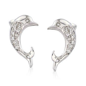 .11 ct. t.w. Diamond Dolphin Earrings in Sterling Silver , , default
