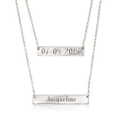 """Italian Sterling Silver Personalized Double Bar Necklace. 20"""", , default"""