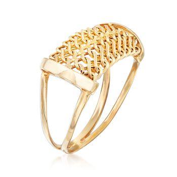Italian 18kt Yellow Gold Mesh Ring. Size 5, , default