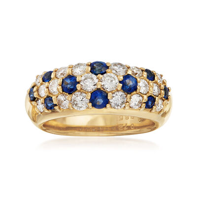 C. 1990 Vintage .85 ct. t.w. Pave Diamond and .72 ct. t.w. Sapphire Ring in 18kt Yellow Gold, , default
