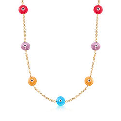 C. 2000 Multicolored Glass Evil Eye Necklace in 14kt Yellow Gold, , default