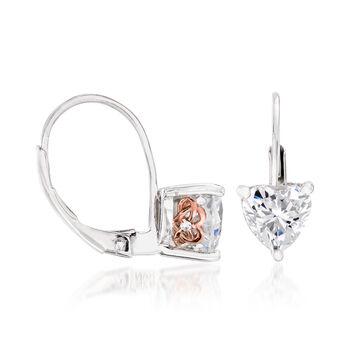 1.02 ct. t.w. Swarovski CZ Heart Earrings in Sterling Silver, , default
