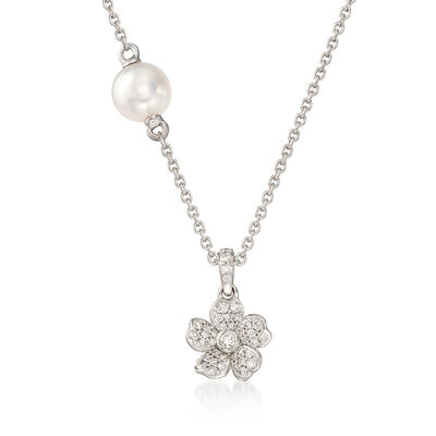 """Mikimoto """"Cherry Blossom"""" 5.5mm A+ Akoya Pearl and .13 ct. t.w. Diamond Floral Necklace in 18kt White Gold, , default"""