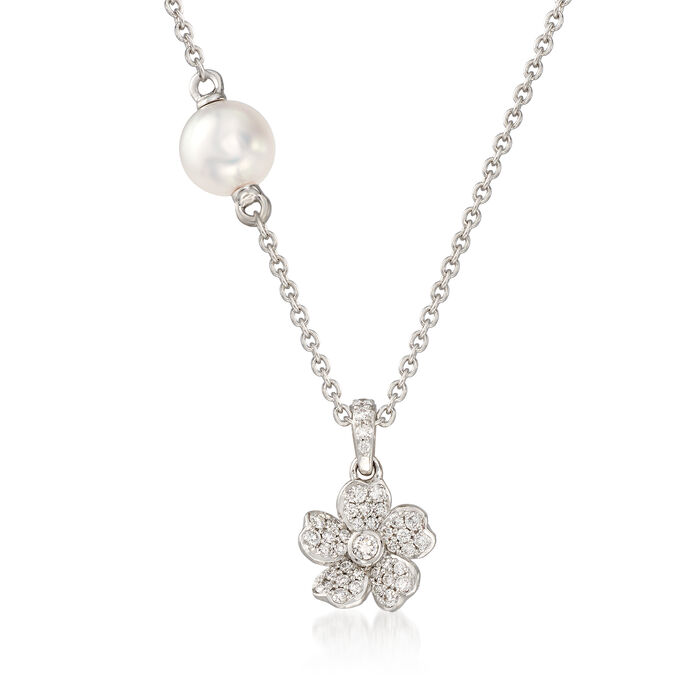 "Mikimoto ""Cherry Blossom"" 5.5mm A+ Akoya Pearl and .13 ct. t.w. Diamond Floral Necklace in 18kt White Gold"