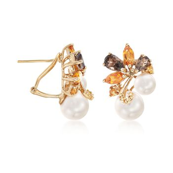 6-8.5mm Cultured Pearl and 2.30 ct. t.w. Multi-Stone Cluster Drop Earrings in 18kt Gold Over Sterling