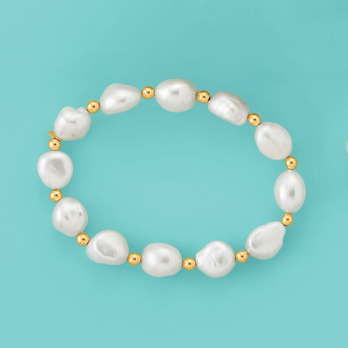 10.5-11.5mm Cultured Baroque Pearl Stretch Bracelet with 14kt Yellow Gold