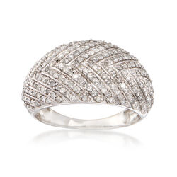 1.00 ct. t.w. Diamond Chevron Dome Ring in 14kt White Gold, , default