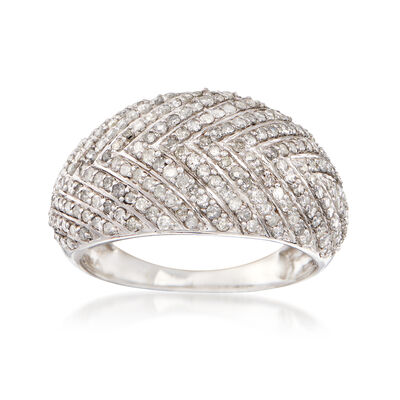 1.00 ct. t.w. Diamond Chevron Dome Ring in 14kt White Gold, , default