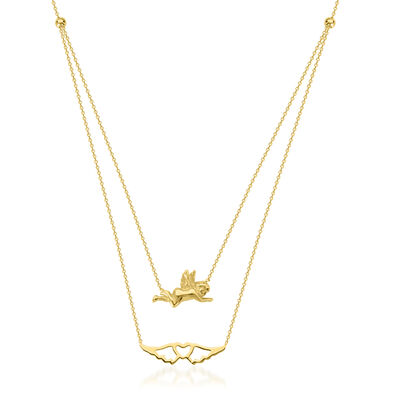 14kt Yellow Gold Angel and Heart Layered Necklace, , default