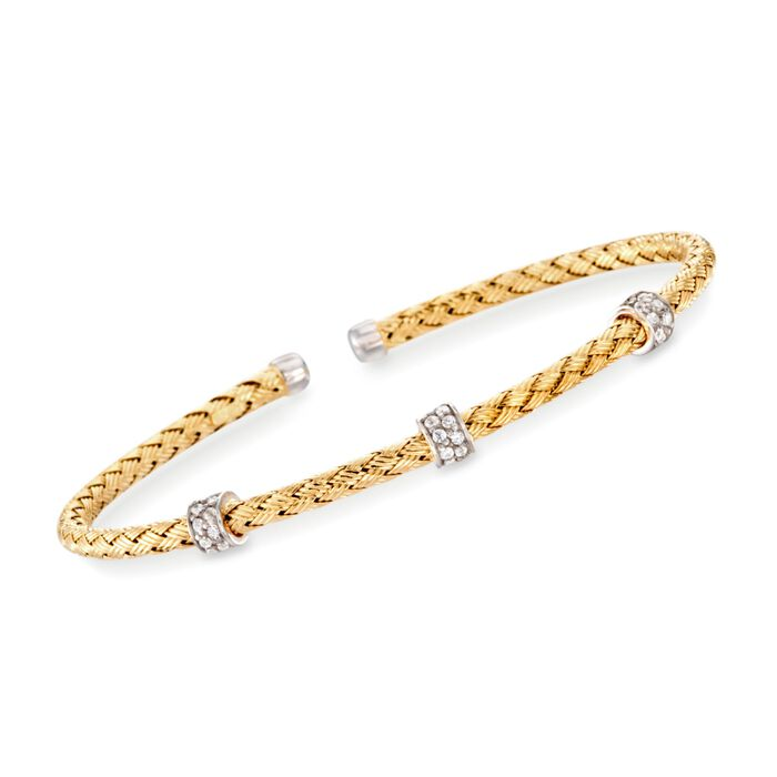 "Charles Garnier ""Torino"" .30 ct. t.w. CZ Cuff Bracelet in 18kt Yellow Gold Over Sterling. 7"", , default"