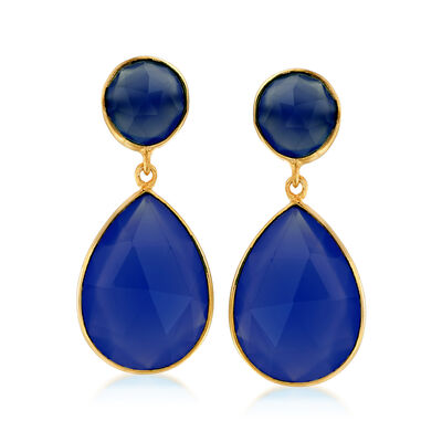 22.50 ct. t.w. Blue Quartz Drop Earrings in 18kt Gold Over Sterling