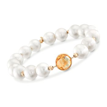 """9-10mm Cultured Pearl and 3.20 Carat Citrine Bracelet With 14kt Yellow Gold. 7"""", , default"""