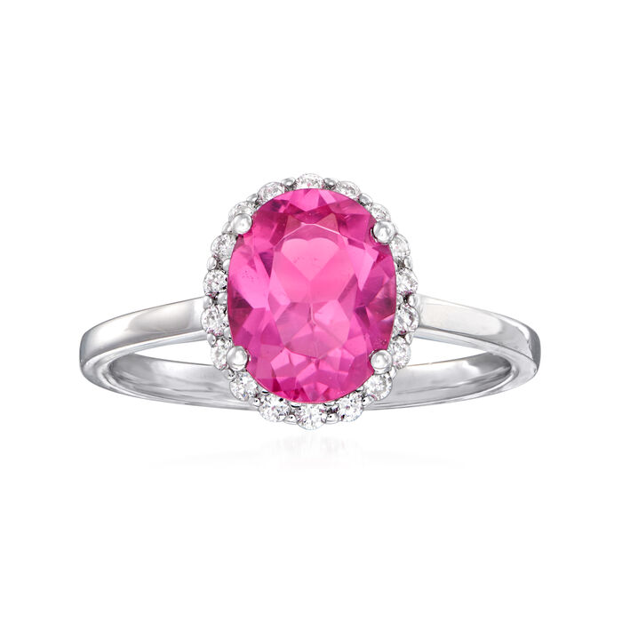 C. 1990 Vintage 1.90 Carat Pink Tourmaline and .20 ct. t.w. Diamond Ring in 14kt White Gold